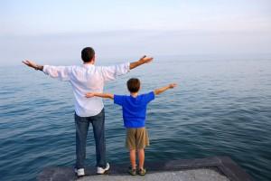 Father son ocean